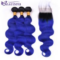 paquetes de pelo azul virgen ombre al por mayor-Beau Diva Pre Coloreado TB / Azul Paquetes de cabello humano virgen brasileño con cierre Recto 100% Ombre Paquetes de cabello con cierre 4 * 4 Remy