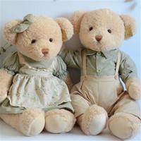 Wholesale Plush Couple Doll - Lovely Teddy Bear Plush Toys 45cm 1 Pair Cute Couple Bears Plush Toys Peluche Dolls Gift Korea Fashion High Quality