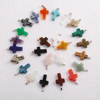 Wholesale crystal cross for jewelry making - fubaoying Cross Pendant Crystal Quartz Stones charm necklace pendant for jewelry making can mix color wholesale