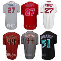 Wholesale Black Paul Goldschmidt Jersey - Los Angeles #27 Mike Trout # 44 Paul Goldschmidt Jersey 51 Randy Johnson Arizona Cheap wholesale Men Retro Baseball Jerseys