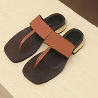 Wholesale Woman Summer slippers women luxury designer sandals Flip Flops Beach Sandalias Femininas flat bottomed high end real leather women s shoes