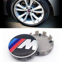 автомобильные шасси оптовых-Для M логотип 2.68 дюймов 68 мм 10PINS / клип для E60 E90 F10 F30 F15 E63 E64 E65 E86 автомобилей ступицы колеса эмблема крышка крышка ABS алюминий