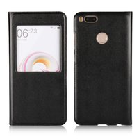 Wholesale Xiaomi Flip Cover - For Xiaomi MAX 2 5X A1 Flip open View Window Case Stand PU Slim leather Cover Fundas