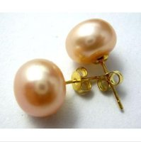 Wholesale natural pearl 12mm resale online - Beautiful natural south sea mm pink pearl earring k yellow gold needle