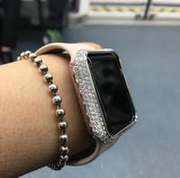 metal kasa saatleri toptan satış-Bling-bling Elmas Metal Çerçeve Kılıf Apple İzle iWatch S1 / S2 / S3 Büyük Boyutlu Platinum için SportsEdition Izle / 42mm