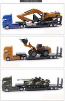 juguete de transporte al por mayor-Coche de juguete para niños, modelo de simulación de vehículo de ingeniería de vehículo de transporte de excavadora de tanque, Juguete de remolque plano para niño
