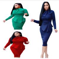 peplum ol kleid groihandel-2018 heißer Verkauf elegante Frauen Party Kleid Stehkragen langen Ärmeln Peplum knielangen Mantel OL Arbeitskleid blau rot grüne Farbe auf Lager