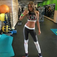 Wholesale female fitness clothes - 2pcs Sport Yoga Set Women Gym Clothing Print Patchwork Fitness Suit Female Summer Running Sportswear Set Workout Clothes