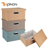 Wholesale bamboo baskets - Linen Clothes Storage Box Folding Home Sundries Organizer Toy Clothes Bra Storage Bin Basket With Lid Laundry Box Container