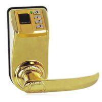 fingerprint door lock оптовых-Нержавеющая сталь DIY - 3398 Fingerprint Door Lock Прогноз погоды Цифровая бесключевая функция электронный интеллектуальный замок отпечатков пальцев