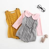 bebek kaşmir iplik toptan satış-Bebek Kız Örme Tulum INS Yeni Sonbahar Kış Yeni Çocuklar Tavşan Kaşmir Çekirdek Bükülmüş Iplik Pamuk Yüksek Kalite Örme Romper Giyim