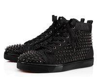 Wholesale genuine leather women shoes drop shipping for sale - Group buy 2018 New Arrival Mens Women black canvas with black spikes High Top Red Bottom Sneakers Brand Casual Shoes Drop Shipping