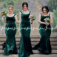 ingrosso pavimento d'epoca smeraldo vestito-Inverno Autunno Smeraldo abito da damigella d'epoca in velluto elastico taglie forti da damigella d'onore maxi abiti da pavimento lunghezza wholeslae su misura
