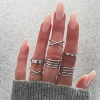 Wholesale unique engagement ring styles for sale - Group buy 6pcs set Knuckle joint Rings Unique designs circles Ring Set Punk style Gold Color midi Finger Knuckle rings Ring Set