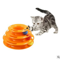 Wholesale Play Tracks - Pet Cat Toy Plastic Three Levels Tower Tracks Disc Cat Toy Amusement Shelf Play Station Pet Cats Triple Play Disc Ball Toys