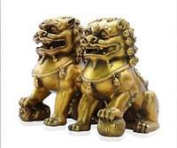 perro chino estatua de león al por mayor-Coleccionables Fengshui chino Bronce Guardian Door Phylactery Foo Dog Lion Statue Par