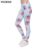 2e87a2e4e0fc2 FCCEXIO 2017New arrival Women Leggings Trousers Donuts with pugs Print  Legging Blue Leggins Slim High Elasticity Legins Womens P