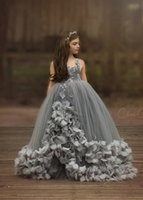 Wholesale black wedding dresses for little girls resale online - 2019 New Arrival Gray Spaghetti Flower Girls Dresses For Wedding Birthday Party Gowns Handmade Flowers Dress For Little Girls