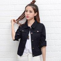 casaco jeans para senhoras venda por atacado-Vermelho Branco Rosa Denim Jaqueta Feminina Fino Básico Casaco Primavera Outono Jeans das Mulheres Jaqueta Jaqueta Casaco de Moda Senhoras Clássico