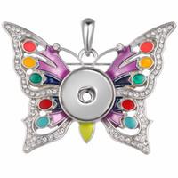 bijoux à papillon achat en gros de-Noosa Butterfly Snap Button Pendentif Aile 18mm Boutons Charme Cristal Feuille Snap Pendentif sans chaîne Bijoux Interchangeables