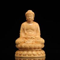 three buddha statues Australia - Wooden Buddha Statue figurines buda Shakyamuni Craft Buddha garden decors wood carving statues for home decoration