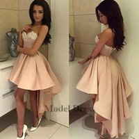 Wholesale low back high front evening dress resale online - Sexy Blush Pink High Low Prom Dresses Short Front Long Back Lace Appliques Sweetheart Strapless Elegant Girls Graduation Dresses Evening