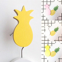 Wholesale Key Holders For Wall - 4.5CM*9CM Wooden Pineapple Hooks For Hanging Self Adhesive Wall Hooks Key Towel Hanger Bag Purse Door Holder Kids Bedroom Decor