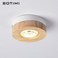 Wholesale 12v surface mount led - BOTIMI Modern LED Ceiling Lights Wooden Ceiling Lamp For Corridor Square Round Wood Kitchen Lights Small Surface Mounted Lamp
