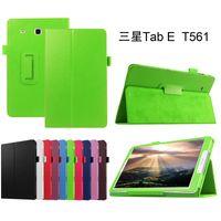 tablet lenovo envío gratis al por mayor-Funda de cuero para Samsung Galaxy Tab 9.6 E T560 T561 SM-T561 Tablet soporte plegable en folio de la cubierta + Stylus