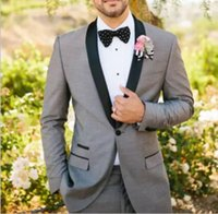 Wholesale Tuxedo Suits Colors - 2018 Men Suits Fit One Button Two Pieces Two colors with Pants Wool Blend Tuxedos Fashion Groom Business Career Suits