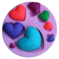herramientas de amor al por mayor-Pink Love Heart Model Chocolate Mold Safety Horno de cocción resistente a altas temperaturas Redondo Eco Friendly Kitchen Tools 2 7dy B