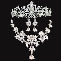 Wholesale wedding necklaces for sale - Shiny Wedding Crows Wedding Accessories Bridesmaid Jewelry Accessories Bridal Accessories Set Crown Necklace Earrings