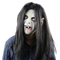 Wholesale zombie bride - Scary Mask Halloween Toothy Zombie Bride With White Hair Horror Ghost Mask