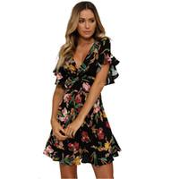 xs elbiseleri toptan satış-Kadın Yaz Rahat Elbise 2018 Plaj Elbiseler kadın Moda Sundress Kısa Kollu V Yaka Baskı Elbise Kadın Giyim