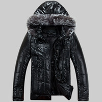 Herren Leder Daunenjacken Winter Parkas Snow Coats Pelz Kapuzenjacke Outwear Super Warm Waterproof Windbreak 5xl