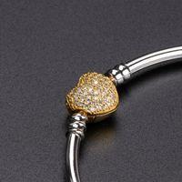 pulseras brazalete de oro amarillo al por mayor-Alta calidad 925 Sterling Silver Bangle 18 K amarillo chapado en oro Crystal CZ Pave Heart Pulsera para Pandora Charms Jewelry DIY con la caja