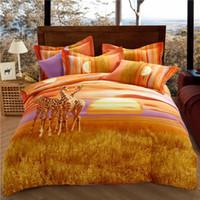 7af4aed170 Svetanya Sunset Giraffa Lenzuola Federe Copripiumino Set Queen King Size Biancheria  da letto Tessuto di cotone sabbiato
