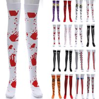 Wholesale bat women costume online - Halloween Long Stocking Sock For Women Bat Bloody Skull Flag Festival Masquerade Costume Cosplay Leggings Stocking Socks Dress Up HH7