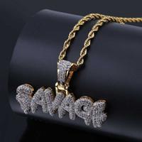 regalos de whosale al por mayor-Whosale Iced Out SAVAGE Letters Colgante Collar Chapado En Oro Plateado Micro Pave Cubic Zircon Hip Hop Joyería Regalos
