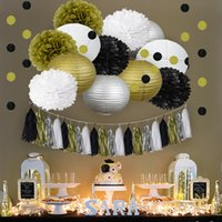 Wholesale party supplies mix for sale - Group buy Eco Friendly Nicro Mixed Gold Black White Party Tissue Pom Poms Paper Lantern Tassel Garland Diy Anniversary New Year Decorations