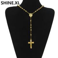 uzun altın topu kolye kolye toptan satış-Hip Hop Dışarı Buzlu Uzun Tesbih Kolye Boncuk Zincir Çapraz Kolye Altın Renk Katolik Kilisesi Topu Takı