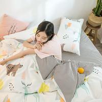 rainha da cama dos cervos venda por atacado-Roupa de cama dos desenhos animados folha de cama folha de cama queen size 100 conjunto de cama de algodão Twin Deer Bear conjunto colorido DAZQJJ-1