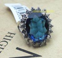 цветок сапфир кольца оптовых-Обручальное кольцо Европа и Америка Сапфир завод цветок полудрагоценные камни