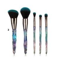 ingrosso uniformi-5pcs / set Spazzole per pennelli con manico in diamante Set Foundation Blusher Powder Uniform Highlight Make Up Brushes Cura del viso