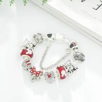 ingrosso braccialetti di fascino del branello per le donne-18 19 20 21CM Braccialetto di perline di fascino 925 Bracciali in argento stile Pandora per le donne Ragazza come un regalo Fai da te Accessori per gioielli da sposa con scatola