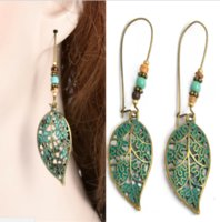Wholesale long silver costume jewelry for sale - Group buy Vintage Women Hollow Leaf Bead Earrings Long Dangle Drop Costume Jewelry Gift