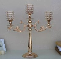 Wholesale tall candle holders for weddings - Gold 3 arms candelabra 67 cm tall metal candle holder for wedding table   events  party centerpiece  home decor