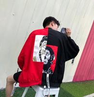 Wholesale Monkey Pockets - Spring And Autumn Men's Coating Trendy Stitching Personality Joker And Monkey Pattern Harajuku Style Men's Jacket