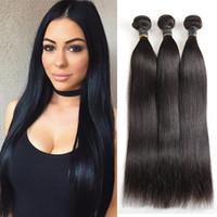 Wholesale human hair colours resale online - Unprocessed A Brazilian Virgin Hair Bundles Straight Human Hair Top Selling Virgin Brazilian Straight Hair Natural Colour