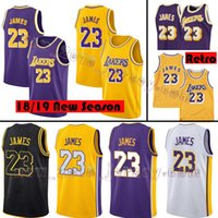 Wholesale embroidery basketball jersey - Los Angeles Jersey Lakers 23 LeBron James 18 19 Men's New Season youth James Basketball Jerseys Embroidery stitched Logos